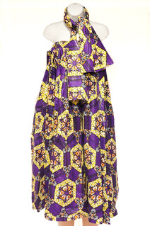 African Dress Set with Scarve Style #1350