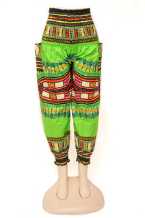 Multicolor Green Ladies Pant with Elastic