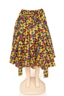 Yellow Mid-length Skirt with Scarve Style #1312