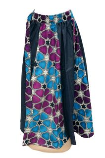 Long Blue Denim Skirt with Scarve Style #1050